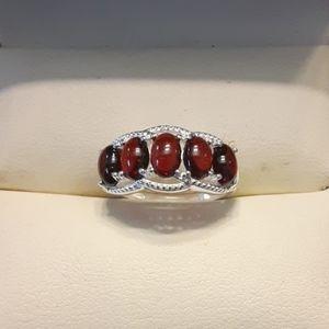 3.00ctw Genuine Garnet 925 Sterling Silver Ring